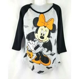Minnie Mouse Girl's HALLOWEEN 3/4 Raglan Tee 7 8